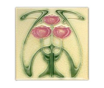 Imán de nevera, Azulejo Art Nouveau, Tulipanes, Guimard