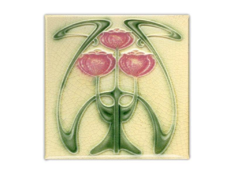 Fridge Magnet, Art Nouveau Tile, Tulips, Guimard