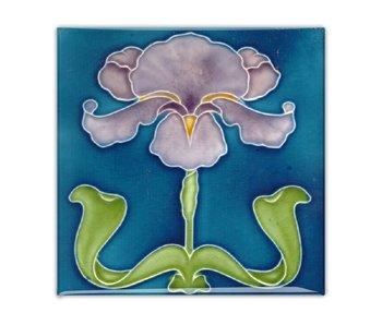 Kühlschrankmagnet, Jugendstilfliese, lila Iris