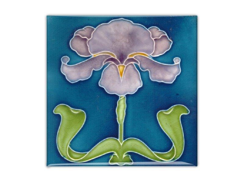 Aimant pour réfrigérateur, carreau Art Nouveau, iris violet