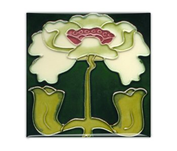 Fridge magnet, Art Nouveau Tile, Flower, Angels, ca 1900