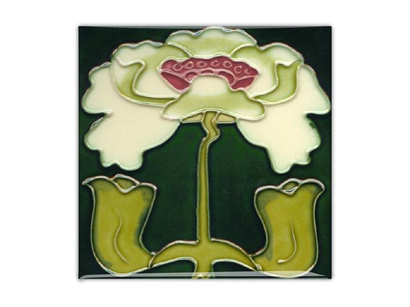 Aimant de réfrigérateur, carreau Art nouveau, fleur, anges, ca 1900