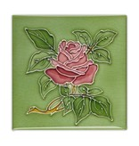 Kühlschrankmagnet, Jugendstilfliese, Rose in Grün
