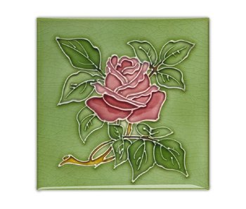 Fridge magnet, Art Nouveau Tile, rose in green