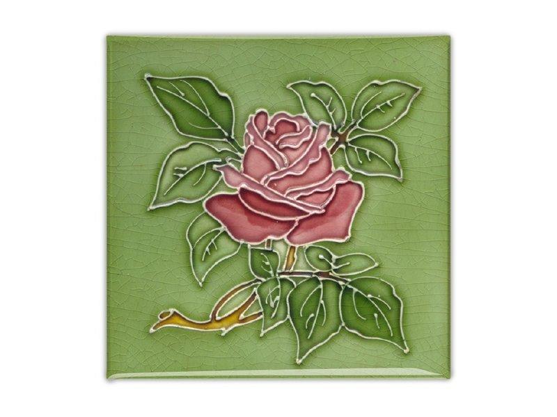 Imán de nevera, azulejo Art Nouveau, rosa en verde
