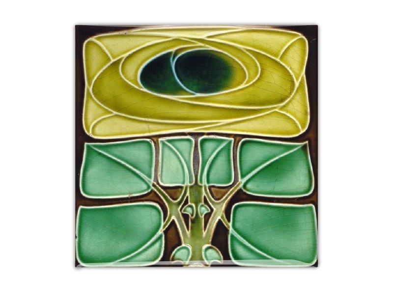 Koelkastmagneet, Art Nouveau Tegel, Bloem, Keltische roos