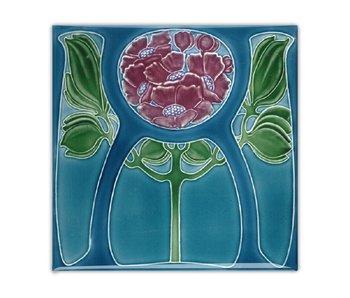 Koelkastmagneet, Art Nouveau Tegel, Bloem in Blauw, 1905