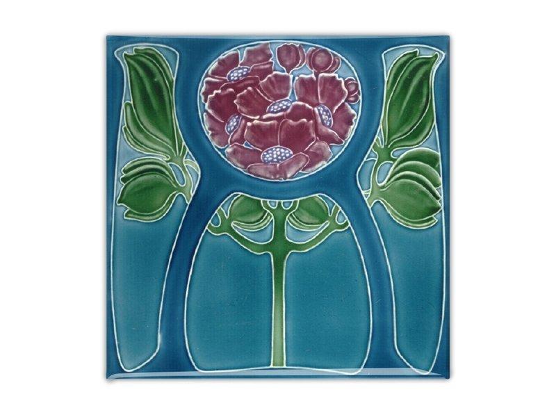 Fridge Magnet, Art Nouveau Tile, Flower in Blue, 1905