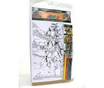 Carte postale à colorier, chevaliers