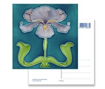 Ansichtkaart, Art Nouveau, Iris paars