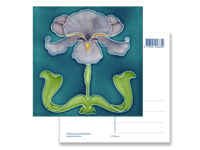 Postcard, Art Nouveau, Purple Iris