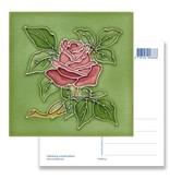 Ansichtkaart, Art Nouveau, roos in groen