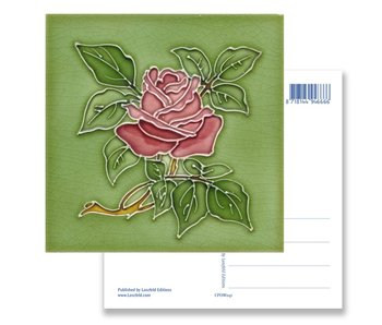 Postcard, Art Nouveau, Rose in green