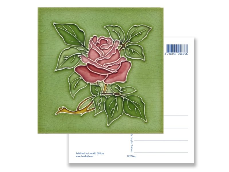 Carte postale, Art nouveau, rose en vertn