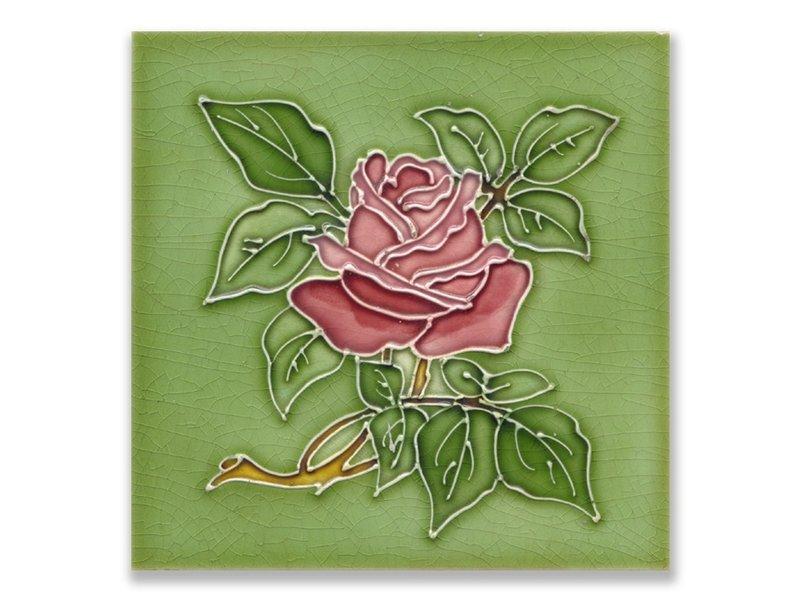 Postal, Art Nouveau, rosa en verde