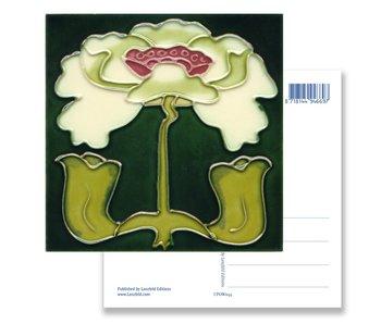 Postal, Art Nouveau, lirio blanco