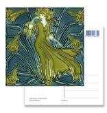 Postal, Art Nouveau, Flora lady