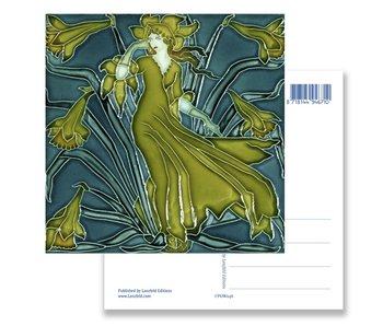 Ansichtkaart, Art Nouveau, Flora dame