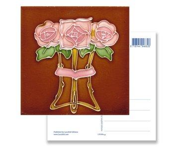 Postal, Art Nouveau, Tres rosas 1910
