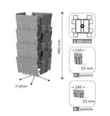 Mostrador para tarjetas, 14 compartimentos