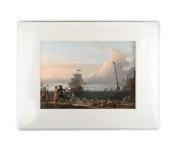 Matted prints with reproduction, XL, Dutch ships in the streets of Texel, Bakhuysen