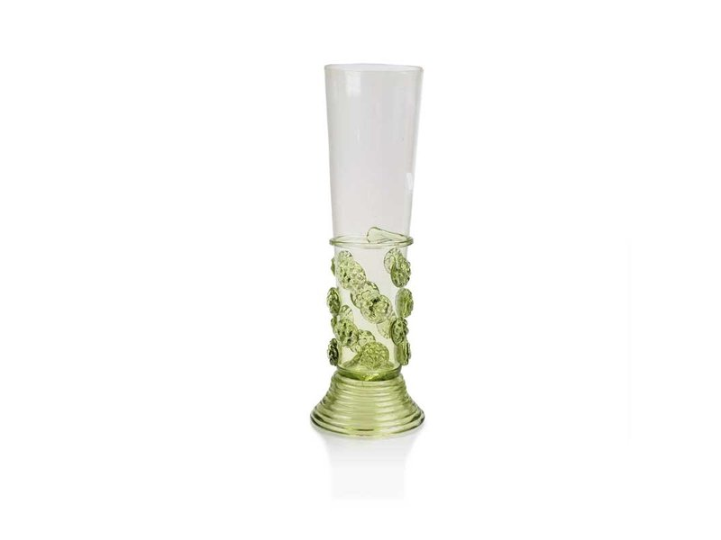 Caño de cristal con tachuelas 17 cm, verde