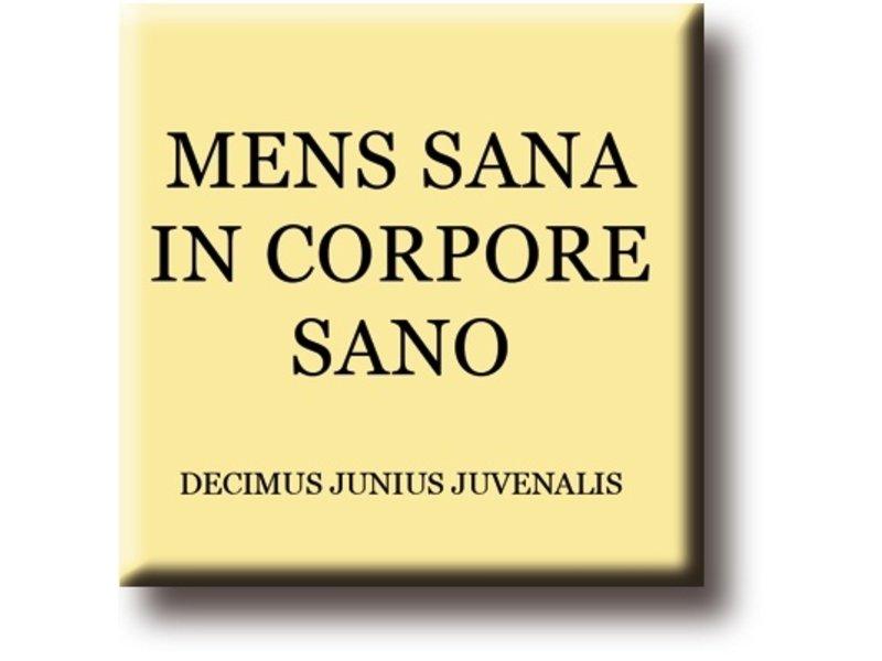 Koelkastmagneet, Decimus, Mens Sana in Corpore Sano