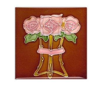 Koelkastmagneet, Art Nouveau Tegel, 'Tube lined' Roos in Bruin