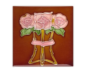 Kühlschrankmagnet, Jugendstilfliese, Rose in Braun mit Röhrenfutter