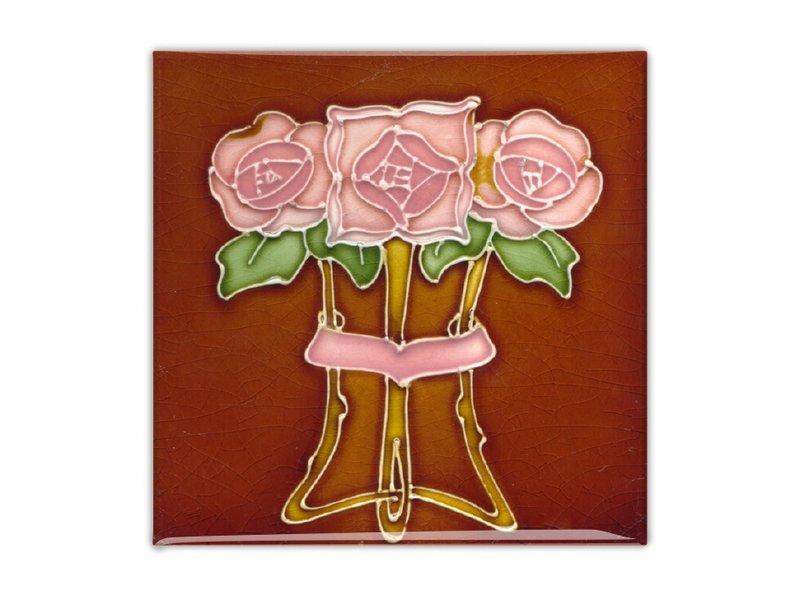 """Aimant pour réfrigérateur, carreau Art Nouveau, rose """"Tube lined"""" en marron"""