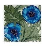 Kühlschrankmagnet, Jugendstilfliese, Rose Blue