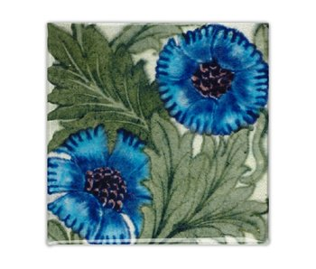 Fridge Magnet, Art Nouveau Tile, Rose Blue