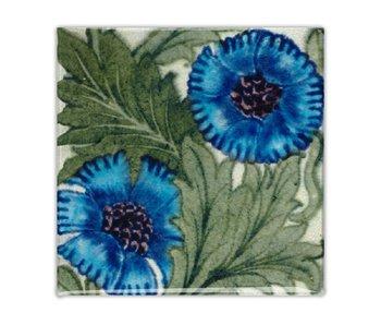 Koelkastmagneet, Art Nouveau Tegel, Roos Blauw