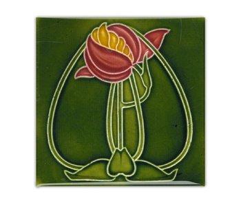 Koelkastmagneet, Art Nouveau Tegel, Bloem, Ronde