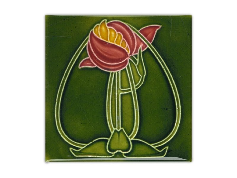 Aimant de réfrigérateur, carreau Art nouveau, fleur, rond