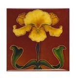 Fridge Magnet, Art Nouveau Tile, Yellow Flower on Brown