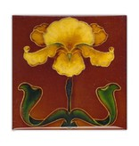 Magnet Solid W, SQ, Art Nouveau YellowFlower in brown