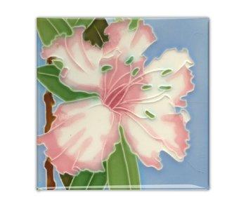 Kühlschrankmagnet, Jugendstilfliese, rosa Seerose