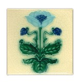 Koelkastmagneet, Art Nouveau Tegel, Blauw Bloem, majolica