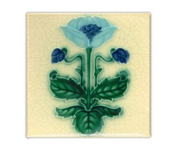 Fridge Magnet, Art Nouveau Tile, Blue Flower, majolica
