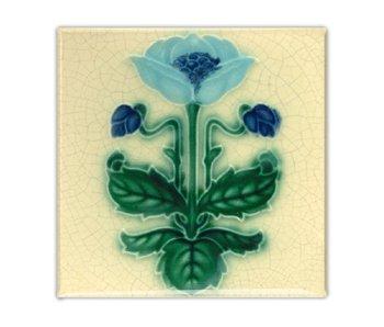 Kühlschrankmagnet, Jugendstilfliese, blaue Blume, Majolika