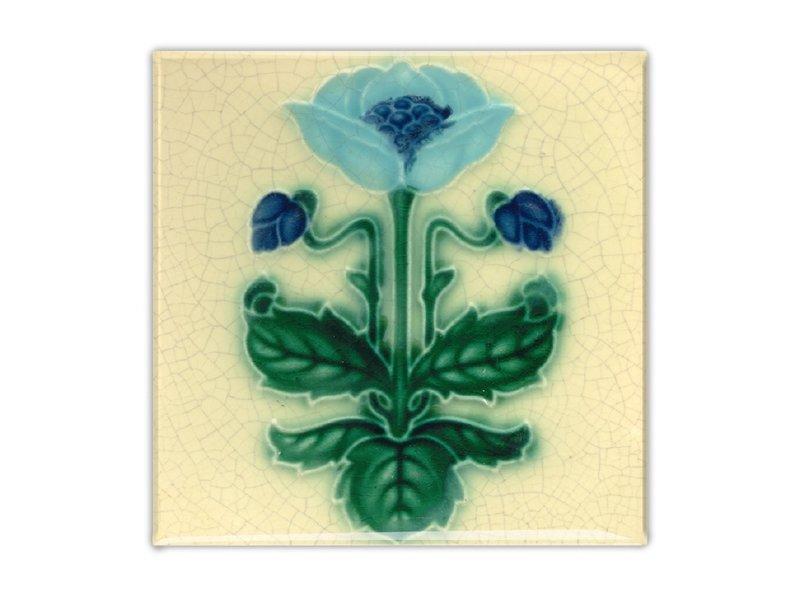 Fridge Magnet, Art Nouveau Tile, Blue Flower, majolica