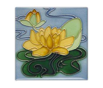 Imán de nevera, Azulejo Art Nouveau, Lirio de agua amarilla