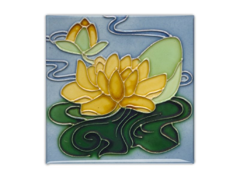 Fridge Magnet, Art Nouveau Tile, Yellow Water Lily