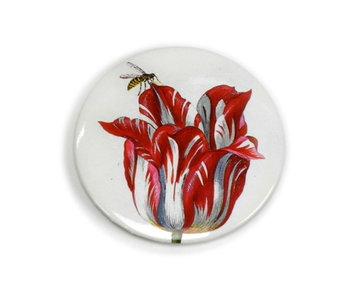 Espejo de bolsillo , Ø 80 mm, tulipán con insecto, marrel