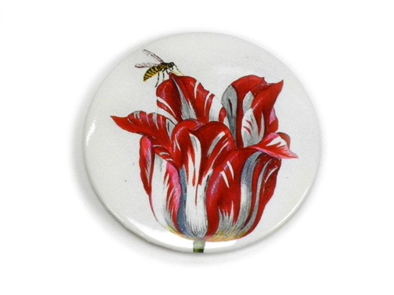 Miroir de poche grand, Ø 80 mm, tulipe avec insecte, Marrel