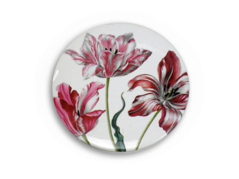 Espejo de bolsillo grande, Ø 80 mm, tres tulipanes, Merian