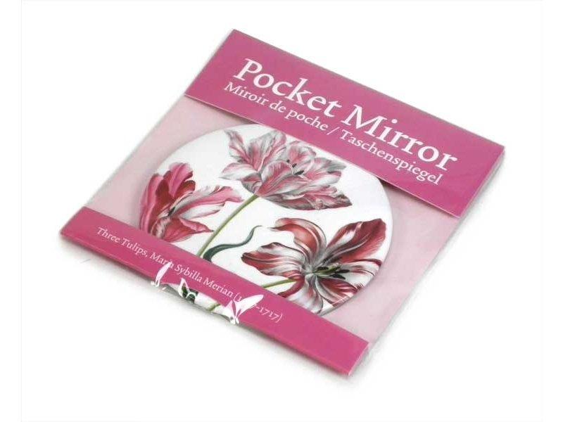 Miroir de poche grand, Ø 80 mm, trois tulipes, Merian