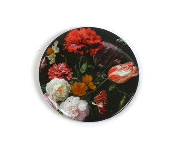 Miroir de poche grand, Ø 80 mm, nature morte aux fleurs, De Heem