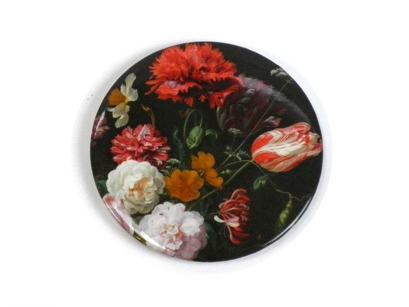 Espejo de bolsillo grande, Ø 80 mm, Bodegón con flores, De Heem
